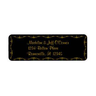 Oro en etiquetas negras del remite del Victorian Etiqueta De Remite