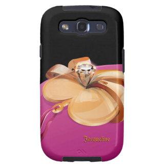 Oro en forma de corazón con el anillo de diamante galaxy s3 carcasa