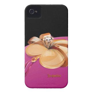 Oro en forma de corazón con el anillo de diamante Case-Mate iPhone 4 fundas
