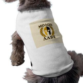 Oro espartano de los laureles del casco de Molon L Camiseta De Perro