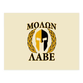 Oro espartano de los laureles del casco de Molon L Tarjeta Postal