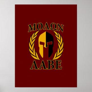 Oro espartano de los laureles del casco de Molon Posters