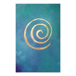 Oro espiral azul brillante del infinito del arquer papelería personalizada