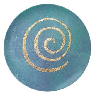 Oro espiral azul brillante del infinito del arquer plato