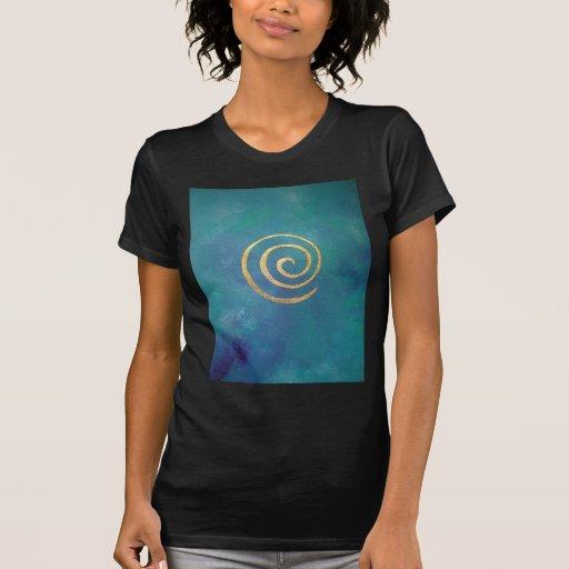 Oro espiral azul brillante del infinito del arquer tee shirt