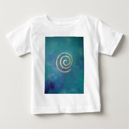 Oro espiral azul brillante del infinito del playeras
