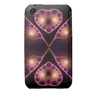 Oro estéreo del fractal del corazón del amor iPhone 3 Case-Mate cárcasas