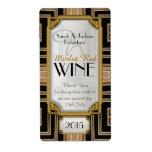 Oro+Etiquetas negras de la botella de vino del vin Etiqueta De Envío