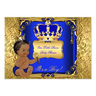 """Oro étnico del azul real del muchacho de la fiesta invitación 5"""" x 7"""""""