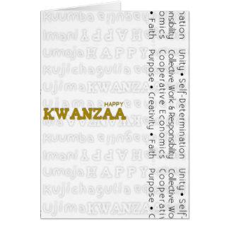 Oro feliz moderno de Kwanzaa Tarjeta De Felicitación