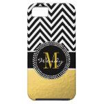 Oro femenino y Chevron negro cones monograma iPhone 5 Carcasas