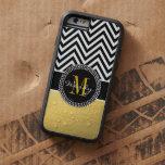 Oro femenino y Chevron negro cones monograma Funda De iPhone 6 Tough Xtreme