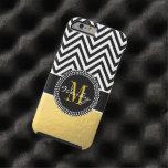 Oro femenino y Chevron negro cones monograma Funda De iPhone 6 Tough