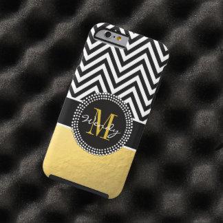 Oro femenino y Chevron negro cones monograma Funda Resistente iPhone 6