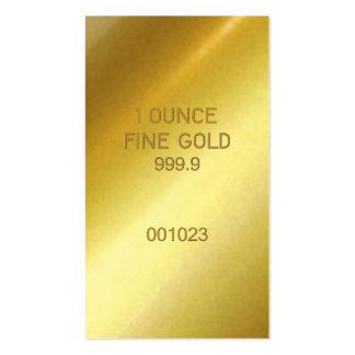 Oro fino de 1 onza tarjetas de visita
