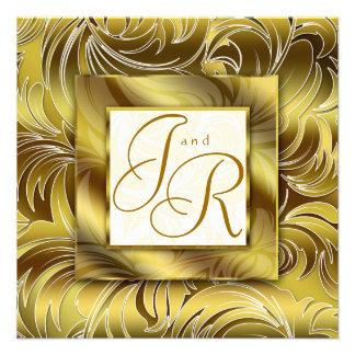 Oro floral del boda de la hoja elegante de la invi