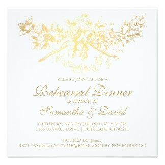 Oro floral del ensayo del vintage elegante de la invitación 13,3 cm x 13,3cm