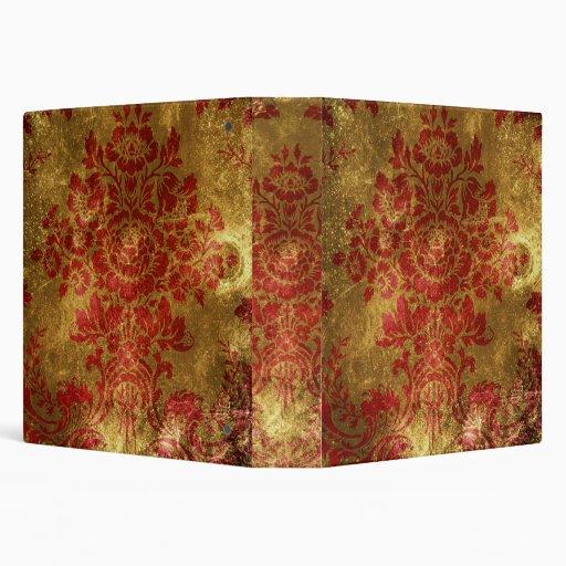 Oro floral del rojo de la carpeta del damasco del