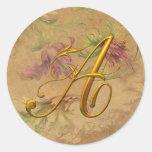 Oro floral del vintage del KRW un sello del boda Pegatina Redonda