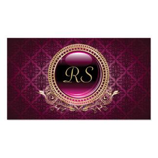 Oro floral y púrpura del monograma del vintage ele tarjeta de visita