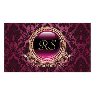Oro floral y púrpura del monograma del vintage ele plantilla de tarjeta de visita
