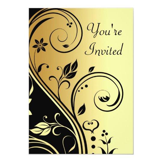 Oro floral y voluta negra toda la invitación de la