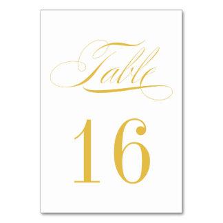 Oro formal y tarjeta blanca del número de la tabla