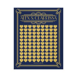 Oro gatsby del libro de visitas del boda de los impresión en lienzo