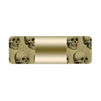 Oro gótico fantasmagórico Halloween del modelo de  Etiqueta De Remitente