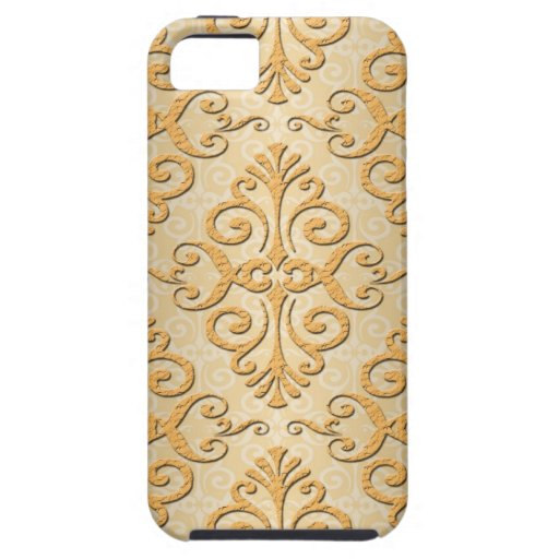 Oro grabado en relieve mirando el modelo del damas iPhone 5 Case-Mate coberturas