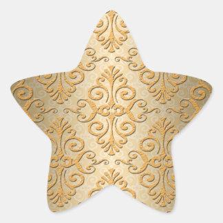 Oro grabado en relieve mirando el modelo del damas pegatinas forma de estrella