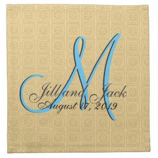 oro grabado en relieve monograma 3d servilletas