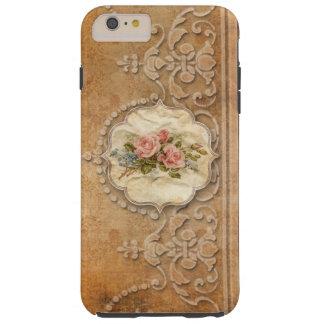 Oro grabado en relieve vintage Scrollwork y rosas Funda De iPhone 6 Plus Tough