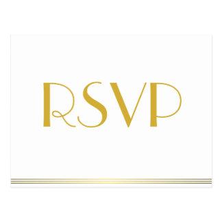 Oro gran Gatsby que casa las postales de RSVP