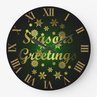 Oro Greean y navidad de los saludos de las estacio Reloj Redondo Grande