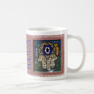 Oro Hamsa con la estrella y el mal de ojo de plata Taza De Café