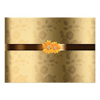 Oro homosexual lesbiano y flores amarillas marrone comunicados personalizados