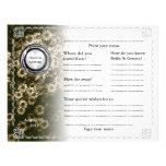 Oro horizontal del libro de visitas del boda flora flyer a todo color