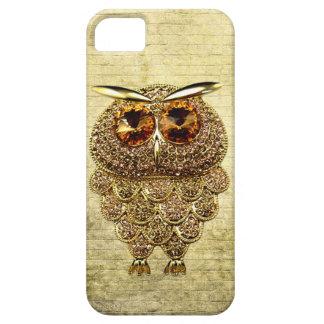 Oro impreso y joya ambarina del búho funda para iPhone 5 barely there