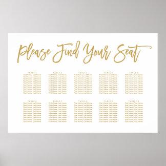Oro indicado con letras de la carta del asiento de póster