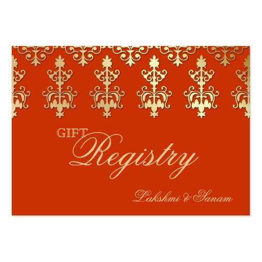 Oro indio del naranja de la tarjeta de registro de tarjetas de negocios