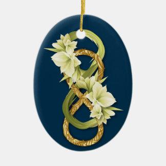 Oro Infinito-Tejido doble y Cowlily-en azul profun Ornamentos De Navidad
