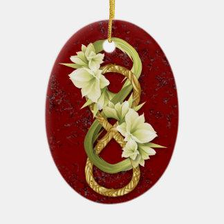 Oro Infinito-Tejido doble y mármol Cowlily-Rojo Ornamentos De Reyes Magos