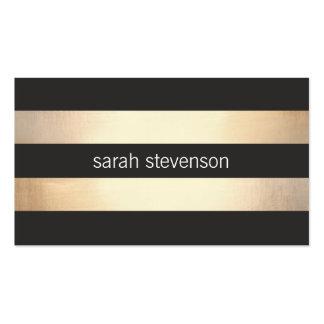 Oro intrépido elegante y moderno rayado negro tarjetas de visita