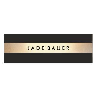 Oro intrépido elegante y moderno rayado negro tarjetas de visita mini