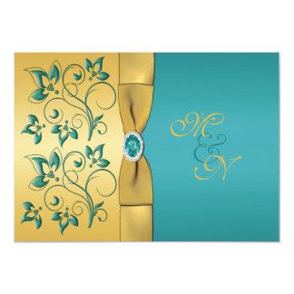 Oro, invitación floral del boda del monograma del