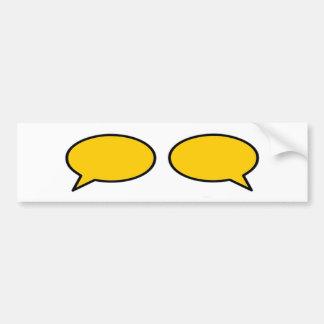 Oro izquierda-derecha de la burbuja de la palabra  pegatina de parachoque