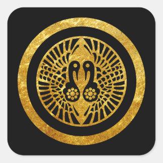 Oro japonés del clan de Ikko Ikki lunes en negro Pegatina Cuadrada