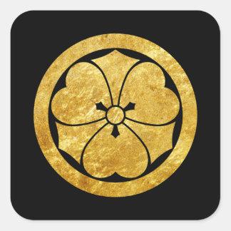 Oro japonés del clan del samurai de Sakai lunes en Pegatina Cuadrada