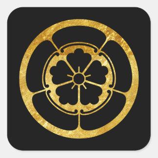 Oro japonés del clan del samurai del Oda lunes en Calcomania Cuadradas Personalizada